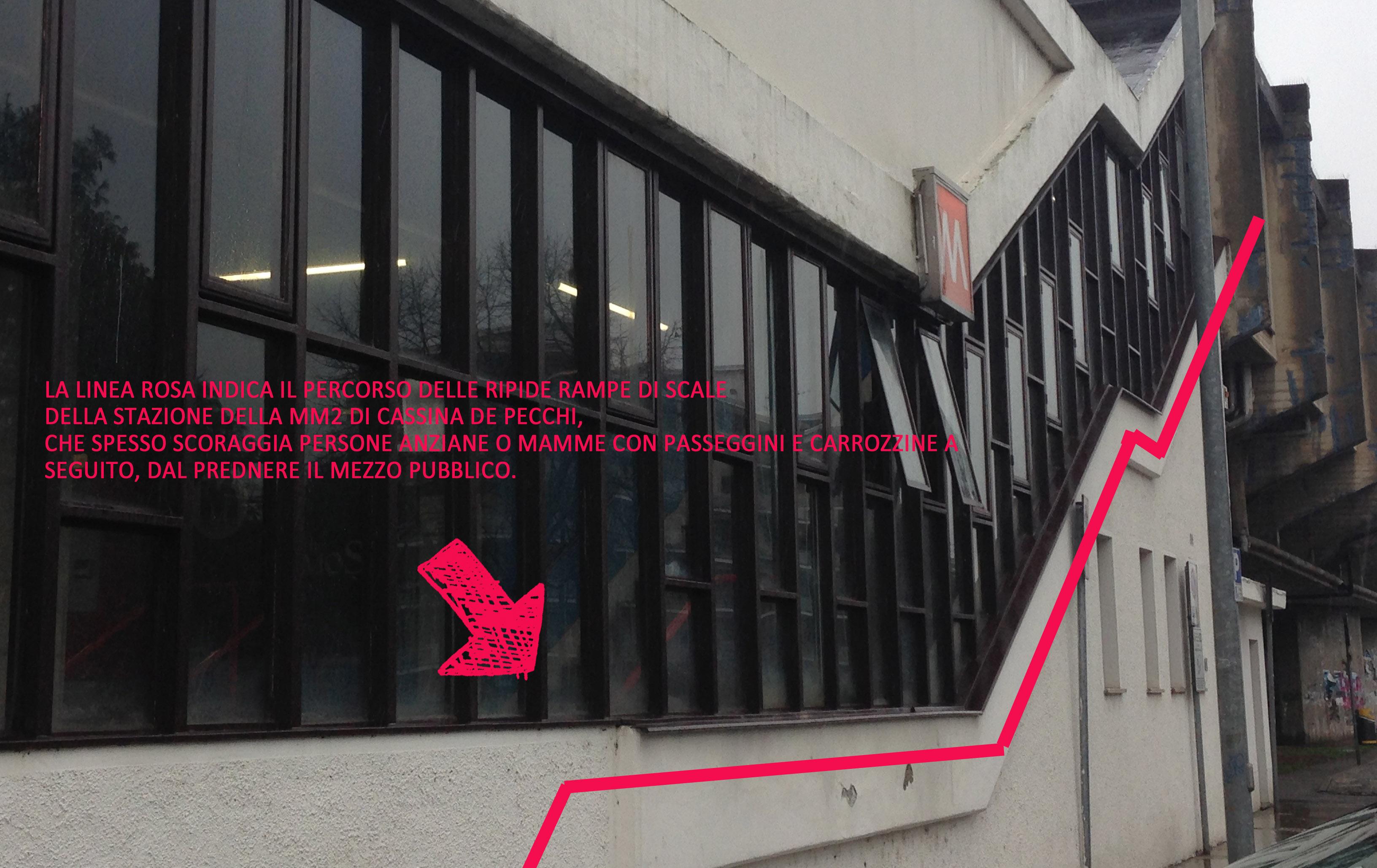 """la stazione MM"""" di Cassina vista da fuori. All'interno non ci è stato consentito scattare foto, le rampe di scale sono visibili dalla loro struttura esterna."""