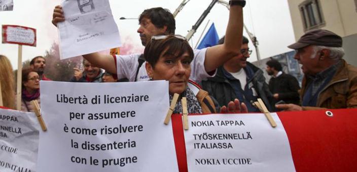 Area Nokia-Siemens: le manifestazioni contro i licenziamenti