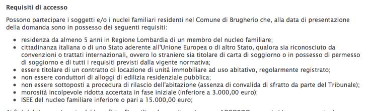 Brugherio in arrivo contributi per chi non riesce a pagare for Locatore e locatario