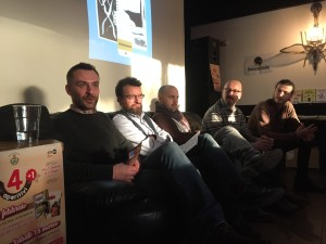 da sinistra, l'assessore alla cultura Gianluigi Maino, Corrado Alberti, Paolo Castali, Francesco Barilli e Guido Ostanel