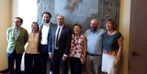 Parento da sinistra: Paolo della Cagnoletta, Luciana Gomez, Daniele Restelli, Ermanno Zacchetti, Mariangela Mariani, Domenico Acampora e Grazia Vanni