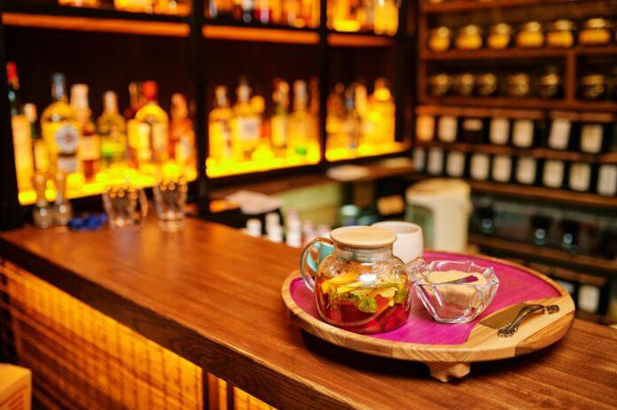 Hookah bar counter, tonic drinks, nobody